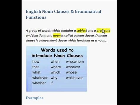 A noun clause is a dependent (or subordinate clause) that works as a noun.it can be the subject of a sentence, an object, or a complement.like all nouns, the purpose of a noun clause is to name a person, place, thing, or idea. English Noun Clauses & Grammatical Functions - YouTube