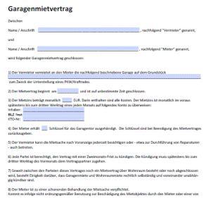 garagenmietvertrag muster gratis garagenmietvertrag pdf