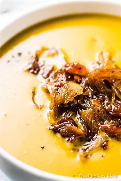 Pumpkin Soup with Maple Bacon Onions Recipe Pumpkin