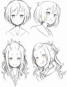 Girl Hairstyles Pose/Position Reference --- Anime, Manga ...
