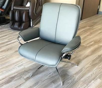 Leather Low Recliner Chair Grey Batick Ekornes