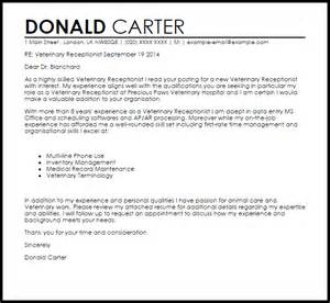 Spa Receptionist Cover Letter Veterinary Receptionist Cover Letter Sle Livecareer