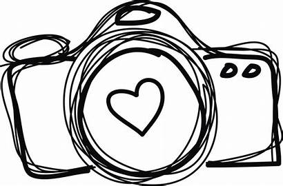 Camera Clipart Drawing Line Photographer Clip Heart