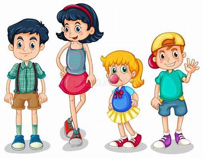 Siblings Clipart Four Vector Background Cartoon Illustration