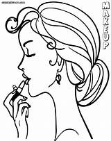 Makeup Coloring Pages Colouring Lady Colorings sketch template