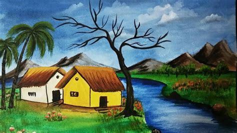 Acrylic Riverfront Landscape Painting Nature Scenery