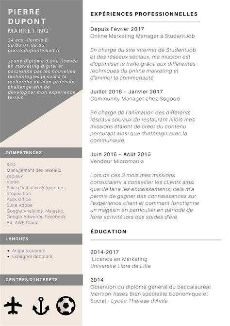 Cv En Franàçais Exemple by Conseils Pour Cr 233 Er Cv Studentjob Fr