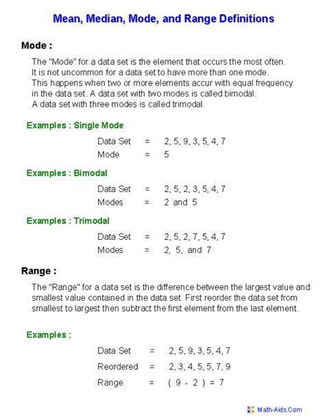 mode median worksheets mode median and range