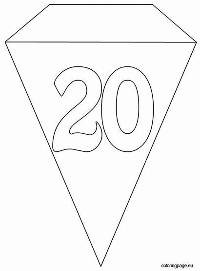 Birthday Banner Template Party 20th Flag Coloring
