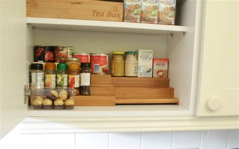 Cupboard Organisers by Kitchen Shelves Extenders Bamboo Kitchen Storage Solutions