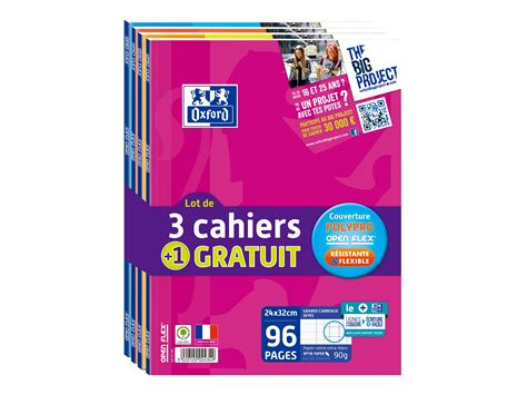 bureau vallee macon oxford open flex 4 cahiers 24 x 32 cm 96 pages