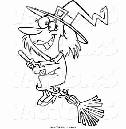 Witch Broom Halloween Cartoon Flying Happy Outline