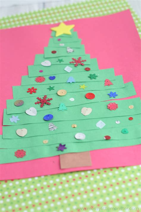 Includes 4 fun christmas card craft ideas. Toddler Christmas Card - Paper Strip Christmas Tree Craft - Messy Little Monster