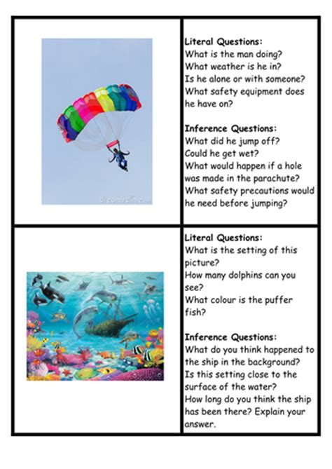 Inference Questions Picture Cards By Loz2710red  Teaching Resources Tes