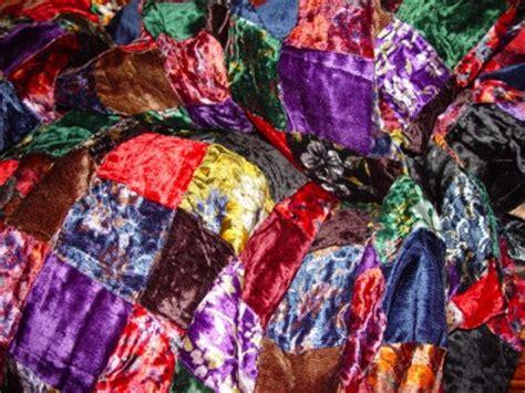 patchwork velvet squares victorian quilt top sampler