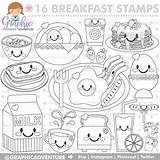 Breakfast Coloring Pages Commercial Stamp Party Digi Etsy Digital Digistamp Graphic Food Getcolorings Cute Stamps Printable sketch template