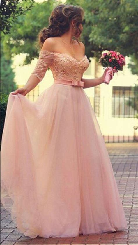 6585 pink lace wedding dress a line pink half sleeve evening dress shoulder 6585