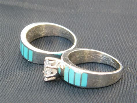 wedding rings navajo turquoise sterling silver cz wedding band 4 10 1 2