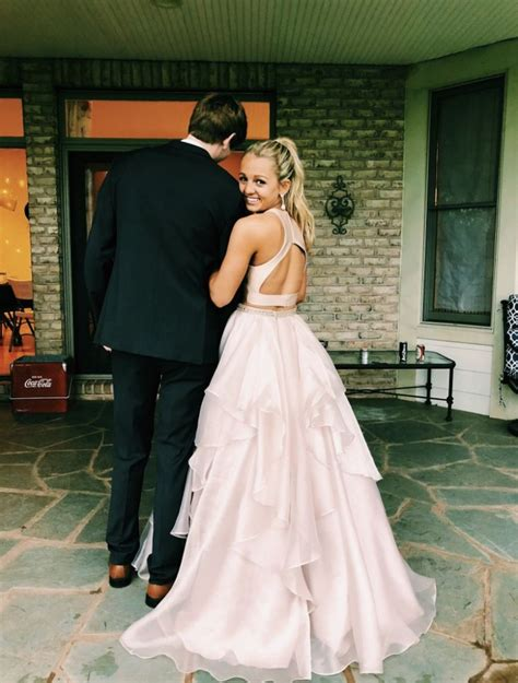 Pakaian dres couple pink : Pin by emily howard on prom pics   Piece prom dress, Prom couples, Simple prom dress