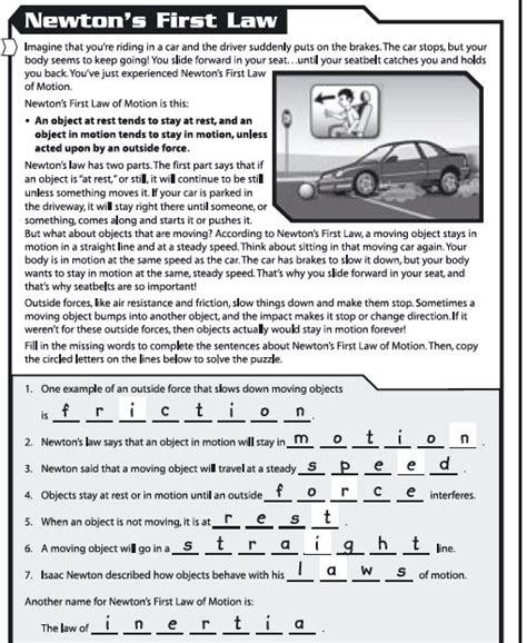 Laws Of Motion Worksheets Worksheets For All  Download And Share Worksheets  Free On