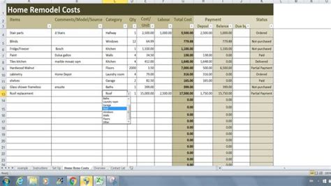 home renovation costs calculator excel template remodel