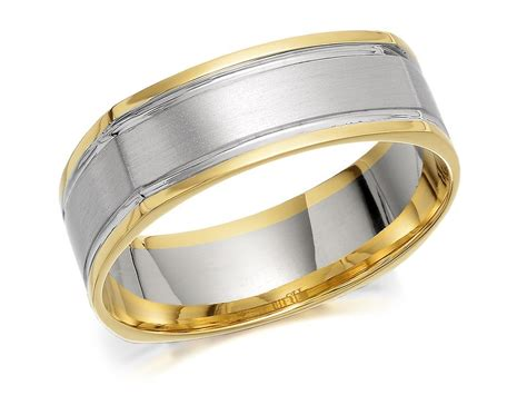 9ct two colour gold squared edged wedding ring 7mm r4537 f hinds jewellers