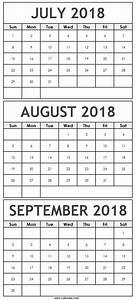 Print A Blank Calendar Print July August September 2018 Calendar With Notes