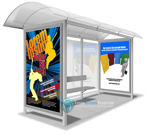 bus stop poster psd template bus shelter posters mockup action cover actions premium