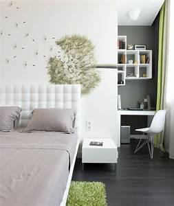 Schlafzimmer Deko Wand : schlafzimmer deko ideen wand dekoideen pusteblume wei e w nde gr ner teppich dunkler boden ~ Buech-reservation.com Haus und Dekorationen