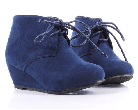 Navy Color Faux Suede Lace Up Girls High Heels Kids Ankle