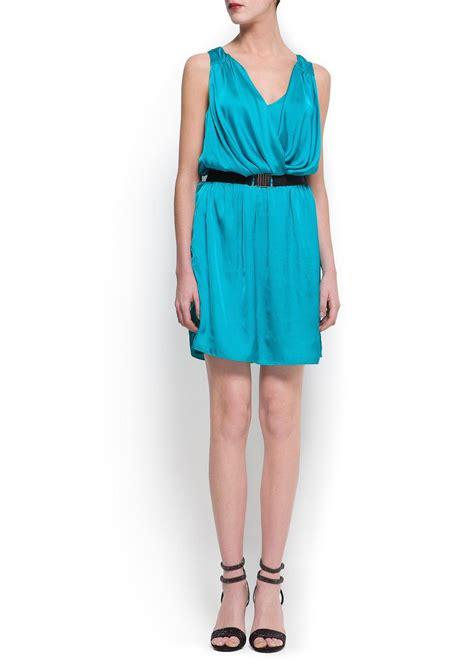 Draped Satin Dress - lyst mango draped satin dress in blue