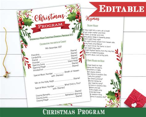 lds christmas program program template editable pdf dinner program printable instant