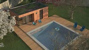 emejing pool house toit plat gallery joshkrajcikus With photos pool house piscine