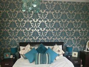 Teal Damask bedroom using Graham and Brown paste the wall ...