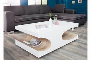Table Basse Blanche Design : table basse design blanche laqu e et bois pour salon ~ Nature-et-papiers.com Idées de Décoration