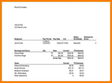 Pay Stub Template 9 Microsoft Excel Pay Stub Template Pay Stub Format