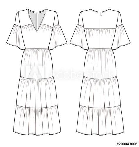 maxi dress fashion flat technical drawing template buy