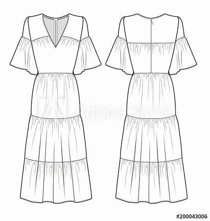 Maxi Drawing Template Sketches Garment Flat Technical