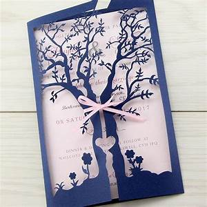 laurel tree laser with ribbon pure invitation wedding With laser cut wedding invitations tree uk