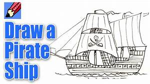How to draw a Pirate Ship Real Easy - YouTube