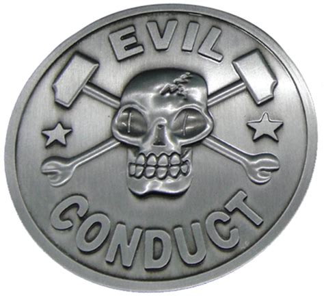 Rebel Sound Music  Evil Conduct  Skull Belt Buckle