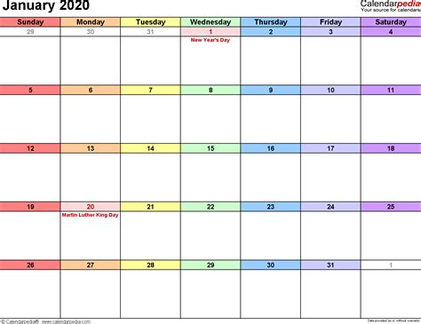 january  calendar templates  word excel