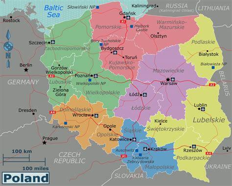 large regions map of poland poland europe mapsland