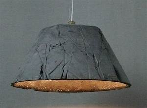 Unusual concrete pendant light with wrinkles pattern