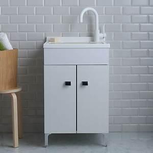 lavoir de buanderie 50x50 cm avec meuble blanc et planche With meuble 50x50