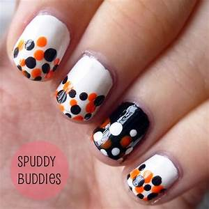 Spud Nails: Easy dotted Halloween nail art