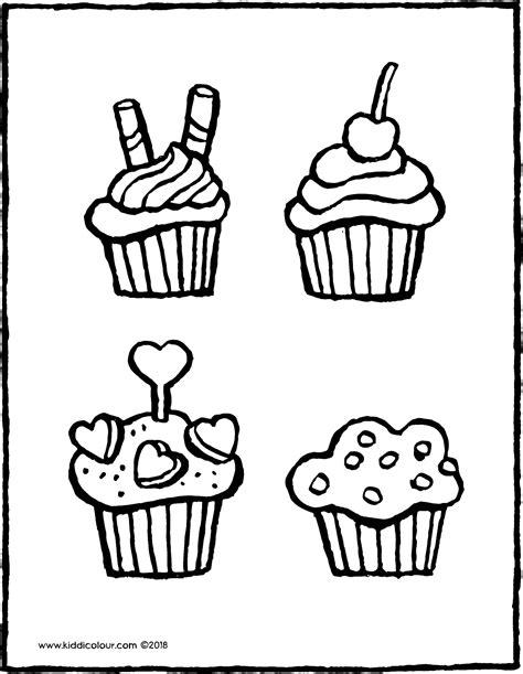 Kleurplaat Doodo kleurplaten cupcakes