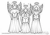 Colouring Angel Choir Pages Nativity Angels Three sketch template