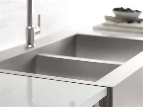 top mount self trimming apron front sink k 3944 1 vault top mount kitchen sink with single faucet