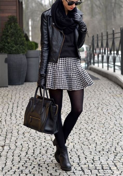 Black Leather Jacket Handbag Boots Scarf Skirt Street